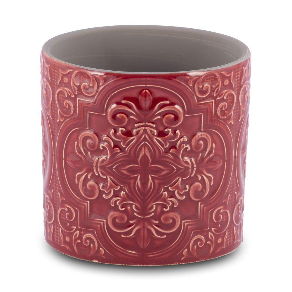 Vaso para Flores suculentas e Plantas Cerâmica Vermelho Decoração