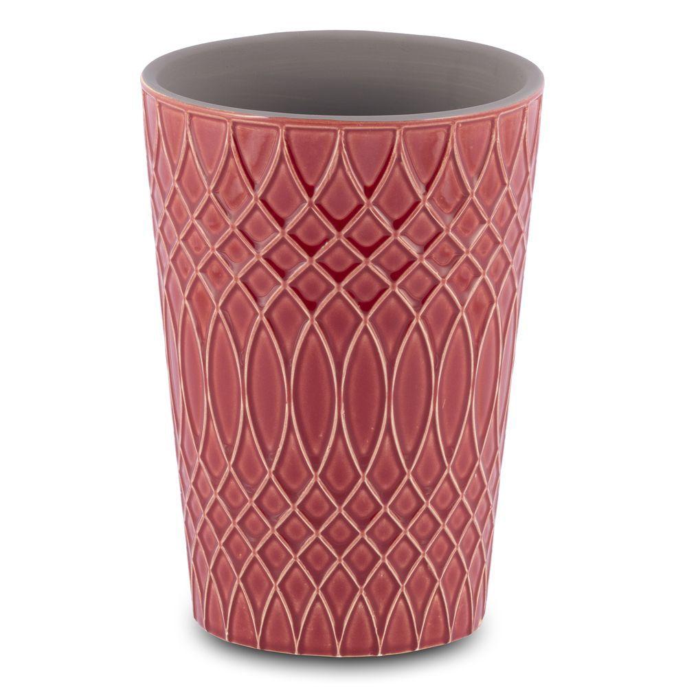 Vaso para Flores em Cerâmica Vermelho 13,5X19cm Decoração