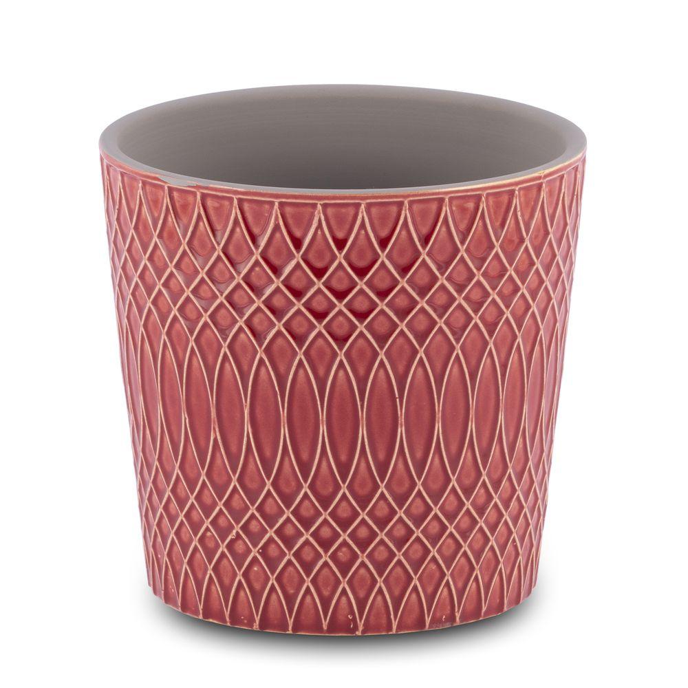 Vaso para Flores Suculentas e Plantas Cerâmica Vermelho Decoração 13,5 x 13 cm