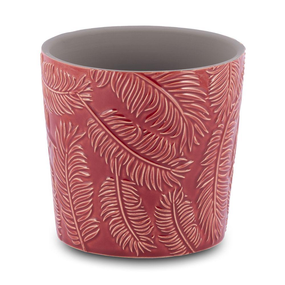 Vaso para Flores Suculentas e Plantas Cerâmica Vermelho Decoração 13,8 x 13 cm