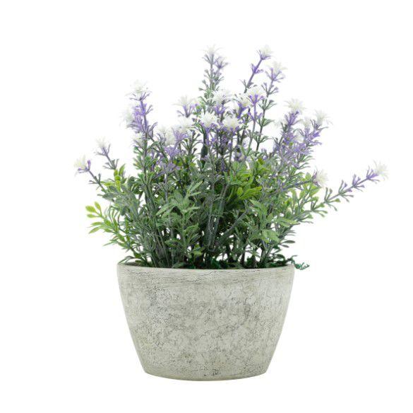 VASO PLASTICO LAVANDERS FLOWERS CINZA 12X12X23CM