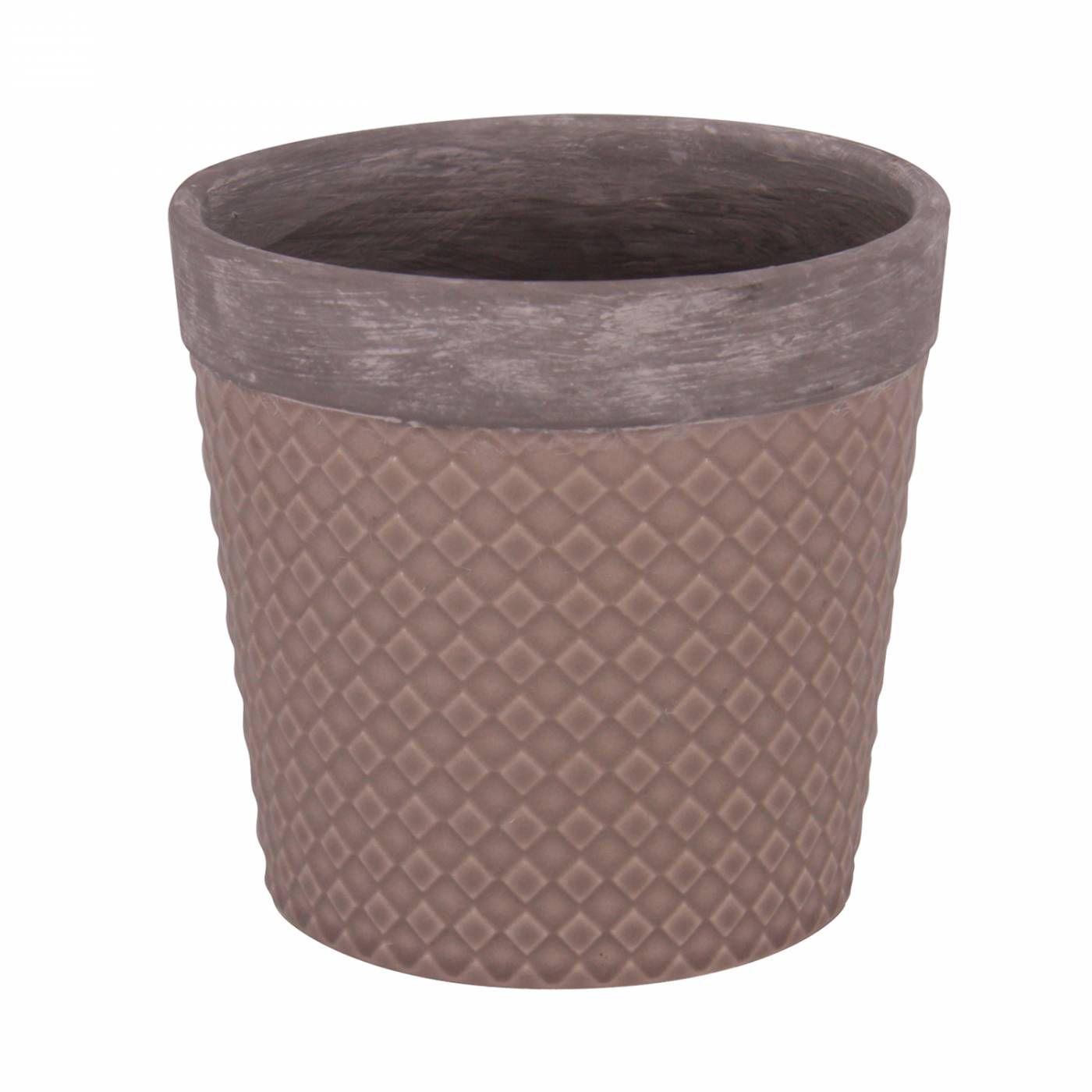 Vaso Textura Losango - Marrom