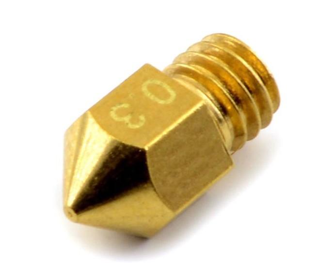 Bico Hotend 1,75MM M6 - Nozzle 0,3MM