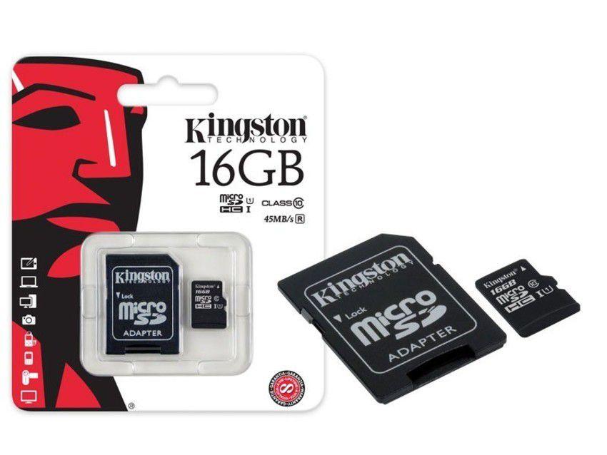 Cartão de Memória MicroSD 16GB Classe 10 Kingston