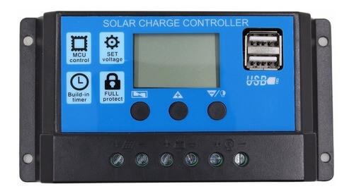 Controlador de Carga Solar 12-24V 30A com Display LCD