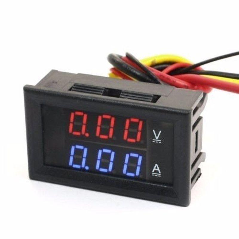 Display Voltímetro e Amperímetro 0 a 100V 50A com resistor Shunt