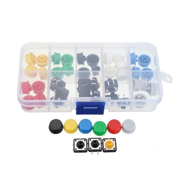 Kit Push Button com Capas Coloridas 50 unidades