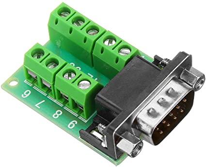 Módulo adaptador conector DB9 serial RS232 macho para borne KRE