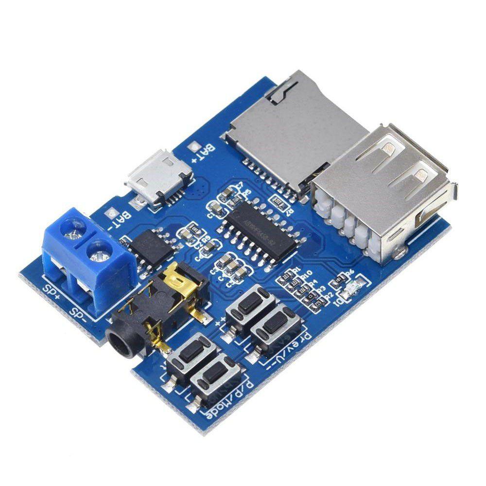 Módulo amplificador de áudio MP3 SD Card / Pen Drive