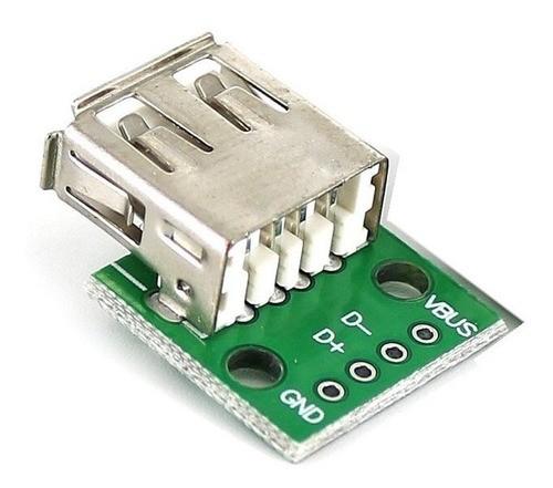 Módulo Conector USB Fêmea 2.0 para DIP
