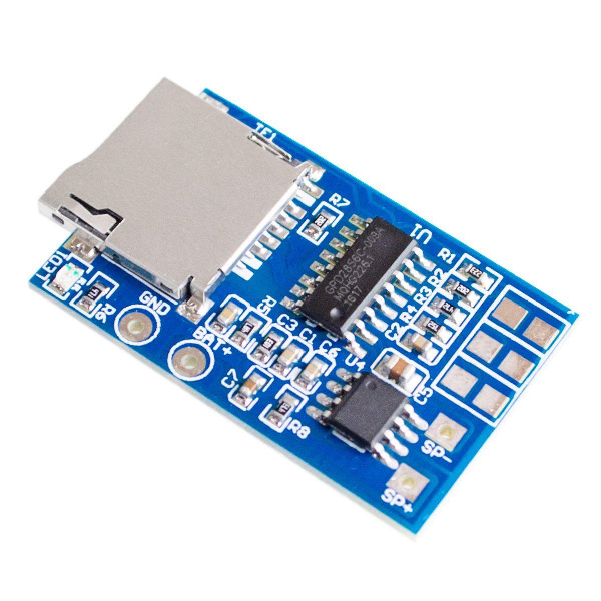 Módulo Decodificador de áudio MP3 GPD2846A MicroSD com Amplificador