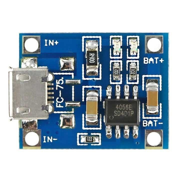 Módulo TP4056 - Carregador de Baterias de Lítio