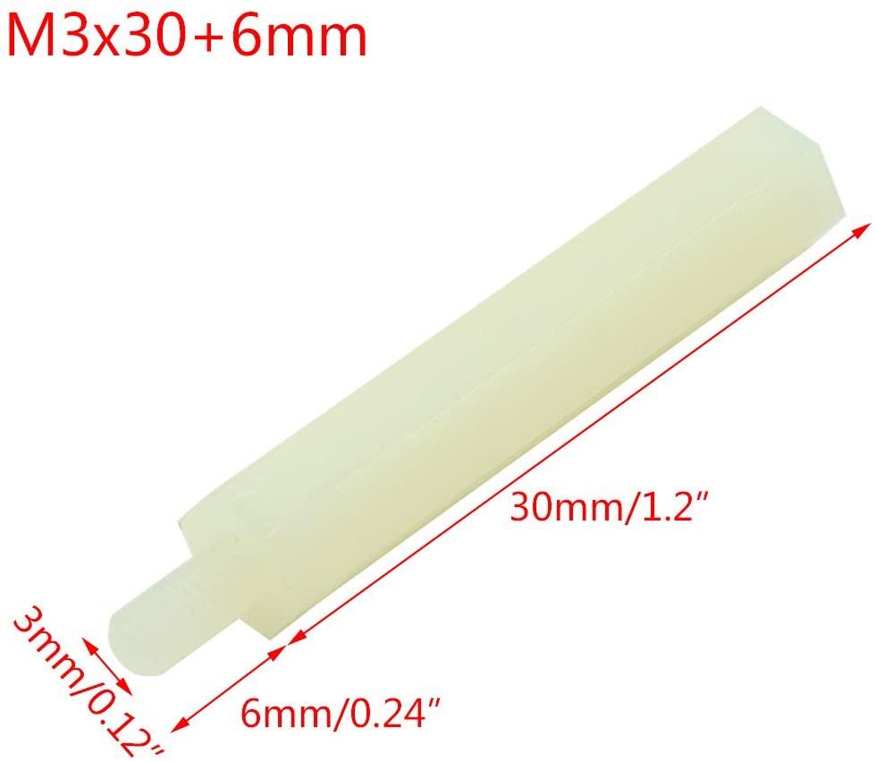Parafuso Espaçador Sextavado em Nylon M3 30mm + 6mm Macho/Fêmea