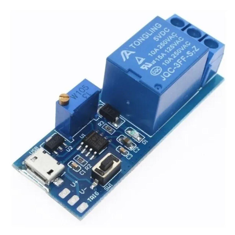 Relé temporizador LM555 com mini USB e Trigger