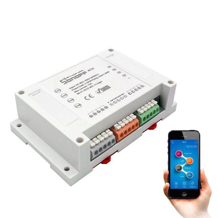 Relé WiFi Interruptor Inteligente Sonoff 4 Canais