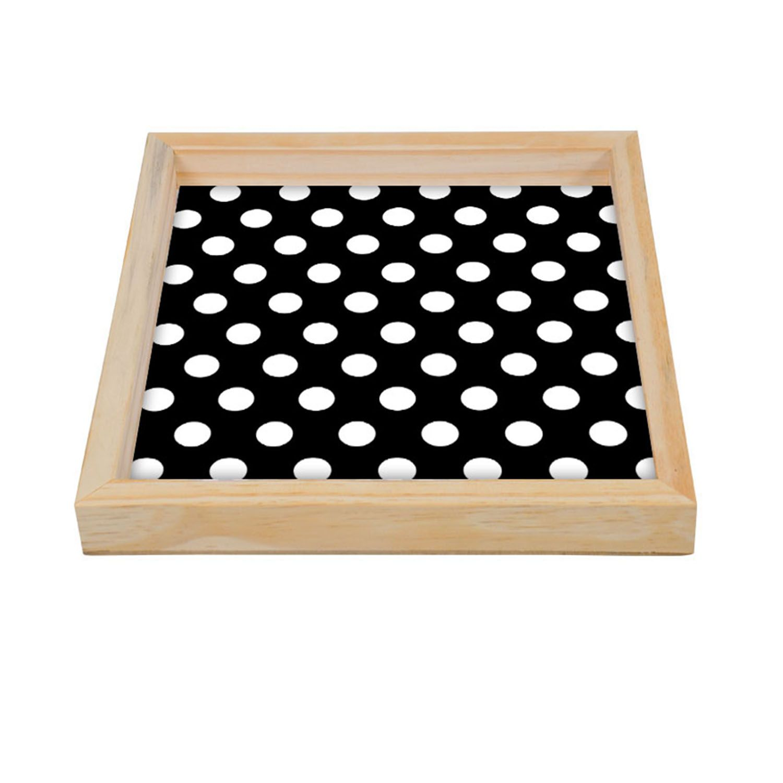Bandeja Modern Multiuso Quadrada Black and Balls Madeira