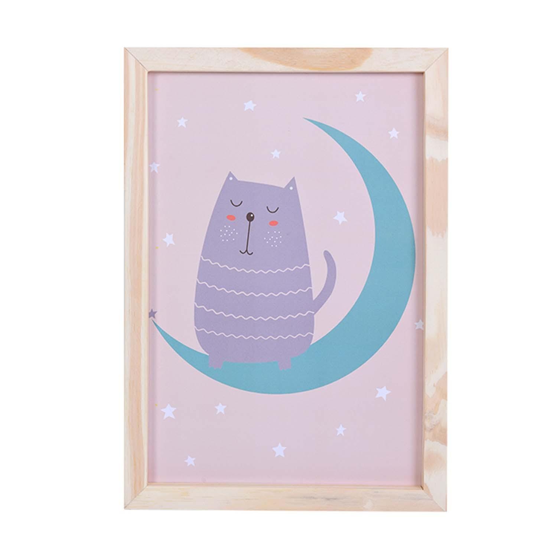 Big Quadro Cat Moon Tamanho A3