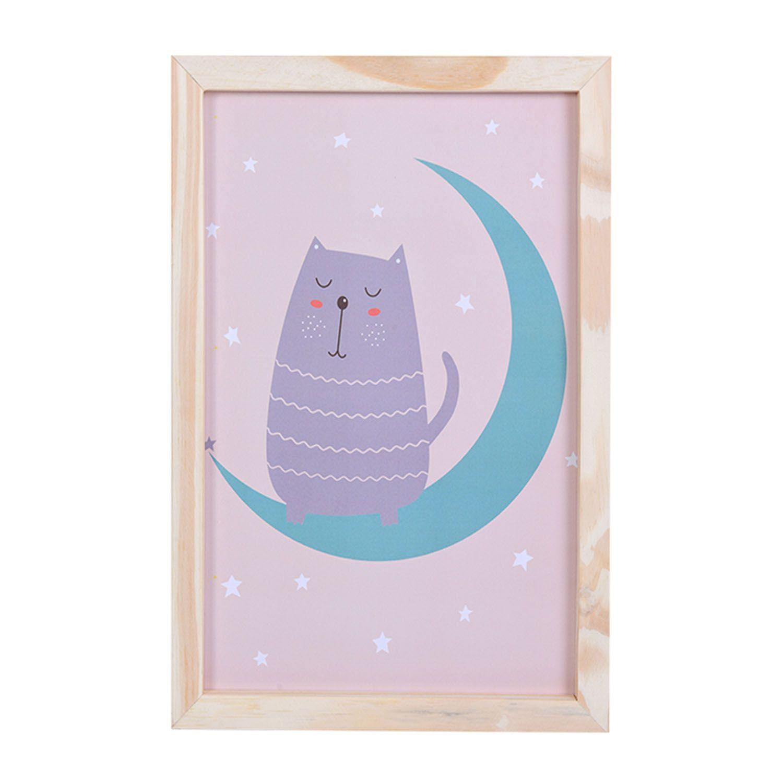 Big Quadro Cat Moon Tamanho A3 em MDF
