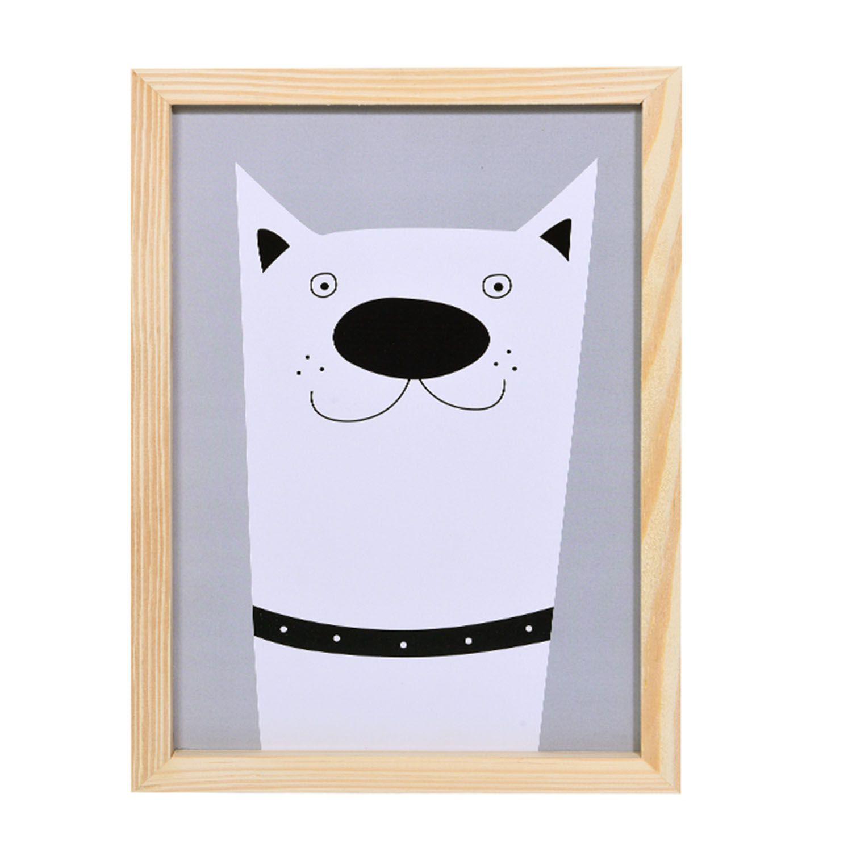 Big Quadro Dog Grey Tamanho A3 em MDF
