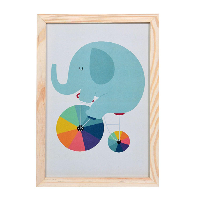 Big Quadro Elefante Rainbow Tamanho A3 em MDF