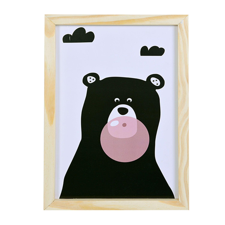 Big Quadro Urso Chiclete Tamanho A3 em MDF