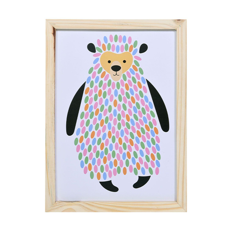 Big Quadro Urso Coloré Tamanho A3 em MDF