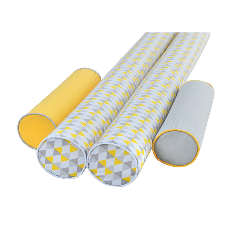 Jogo 4 Peças Rolos Protetores de Berço Yellow Grey Triangle