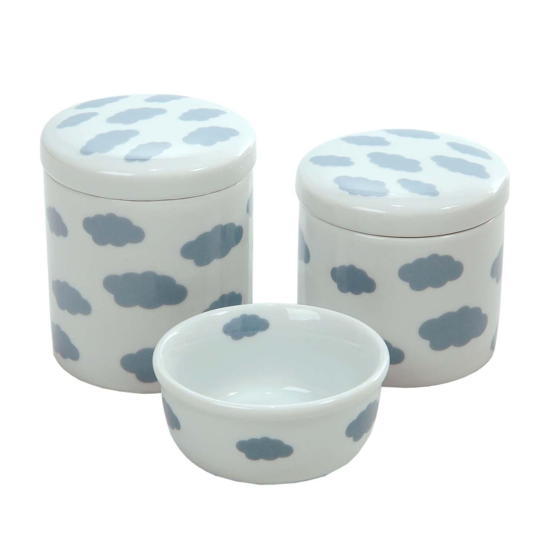Jogo com 3 Potes Brancos com Nuvens Cinza em Cerâmica Esmaltada