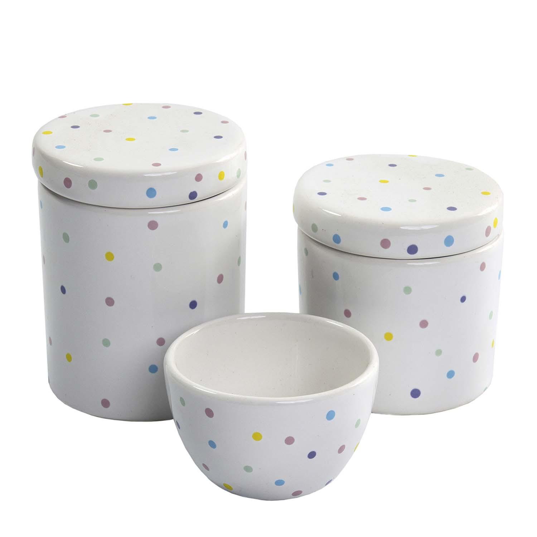 Jogo com 3 Potes Colors em Cerâmica Esmaltada