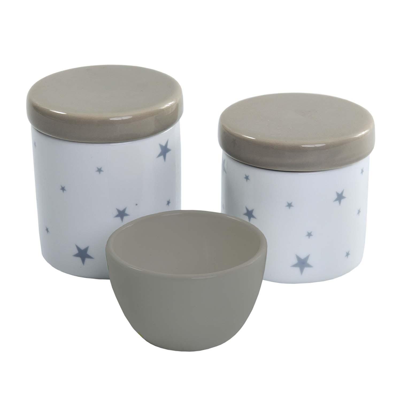 Jogo com 3 Potes Stars Cinza em Cerâmica Esmaltada