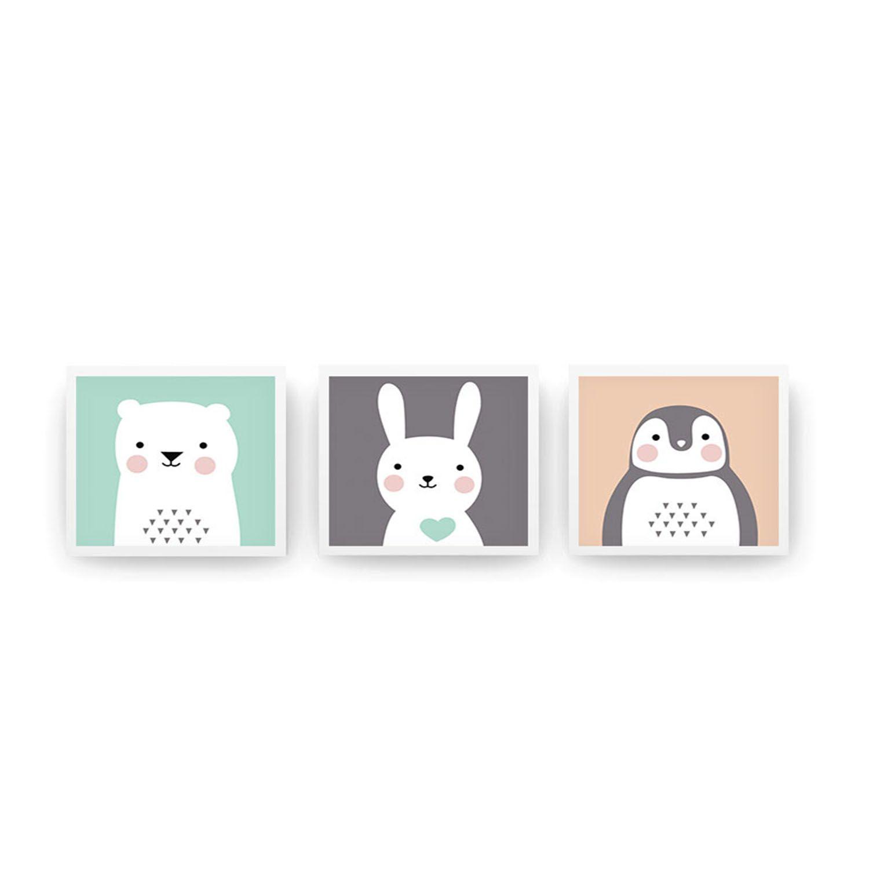 Jogo de Quadros 3 Peças Urso Coelho e Pinguim