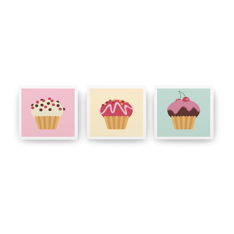 Jogo de Quadros Cupcakes 3 Peças