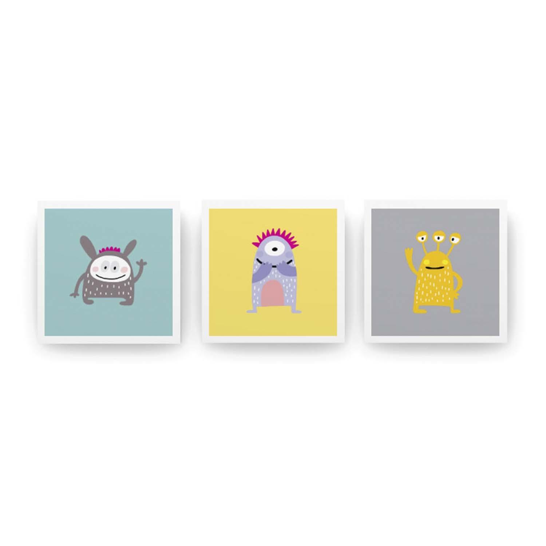 Jogo de Quadros Toy Monsters 3 peças