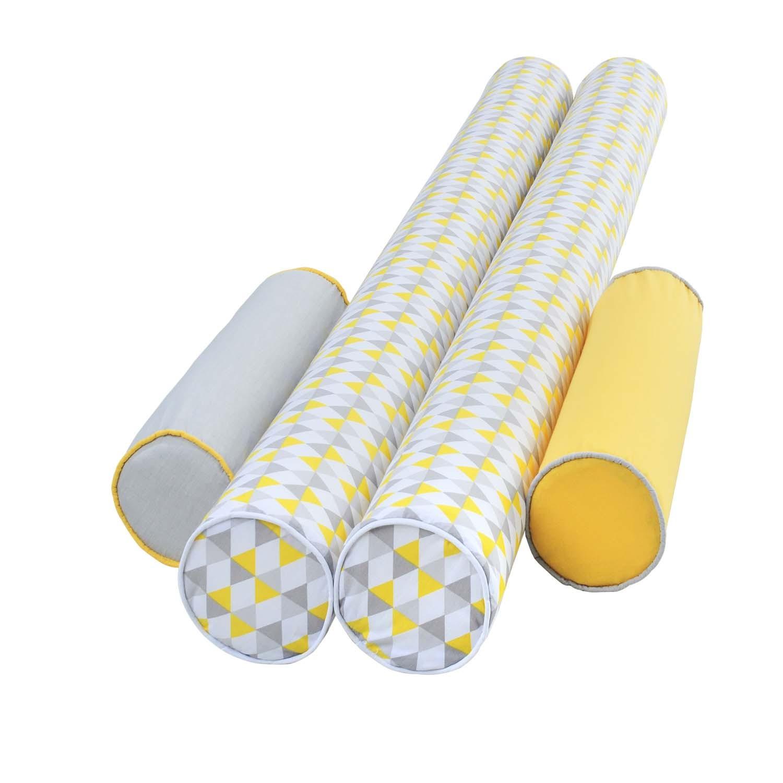 Kit de Rolos Protetores de Berço Yellow Grey Triangle com 4 peças