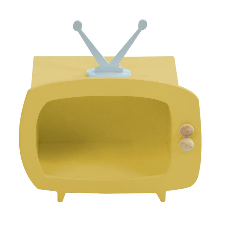 Televisão Amarelo Mini Nicho Multiuso MDF