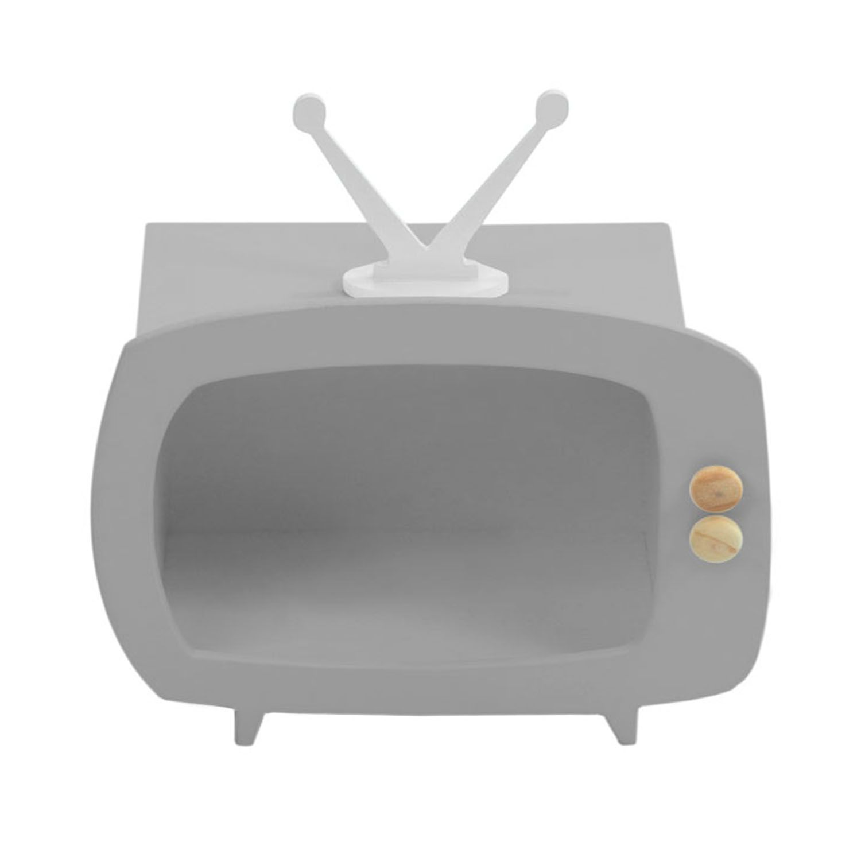 Televisão Cinza Mini Nicho Multiuso MDF