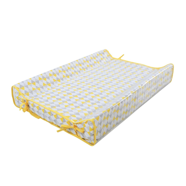 Trocador Premium Plastificado Cinza e Amarelo Triângulos