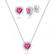 Conjunto de colar e brinco de coração pedra magenta banhado em ródio branco