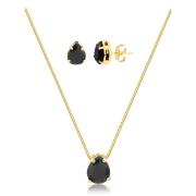 Conjunto de colar e brinco gota preta banhado em ouro 18k
