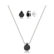 Conjunto de colar e brinco gota preta banhado em ródio branco