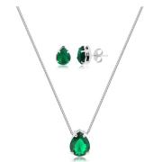 Conjunto de colar e brinco gota verde banhado em ródio branco