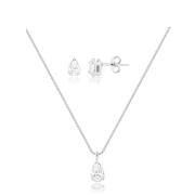 Conjunto de colar e brinco ponto de luz gota banhado em ródio branco
