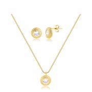 Conjunto de colar e brinco redondo com zircônias banhado em ouro 18k