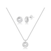 Conjunto de colar e brinco redondo com zircônias banhado em ródio branco