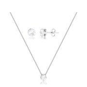 Conjunto de colar e brinco redondo ponto de luz banhado em ródio branco