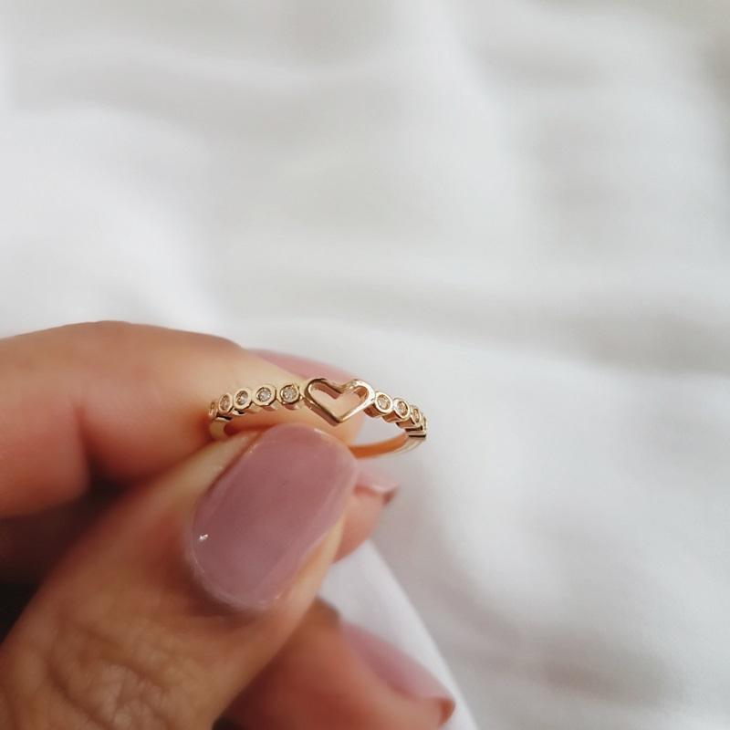 Anel Falange de Coração com Aro de Zircônias Banhado em Ouro 18k