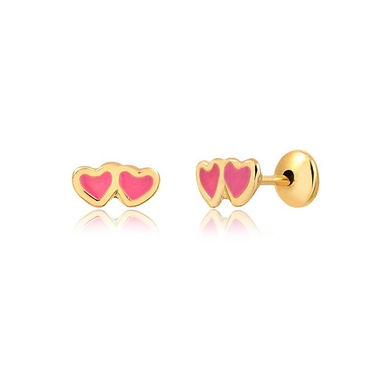 Brinco coração duplo rosa banhado em ouro 18k