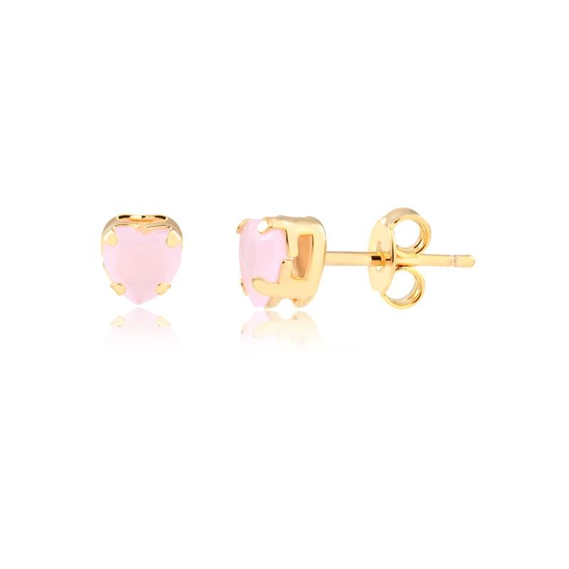 Brinco pequeno com pedra natural rosa em formato de coração banhado em ouro 18k