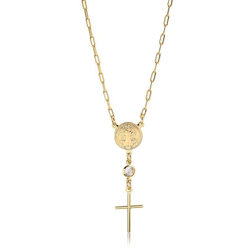 Colar Medalha de São Bento banhado em Ouro 18k