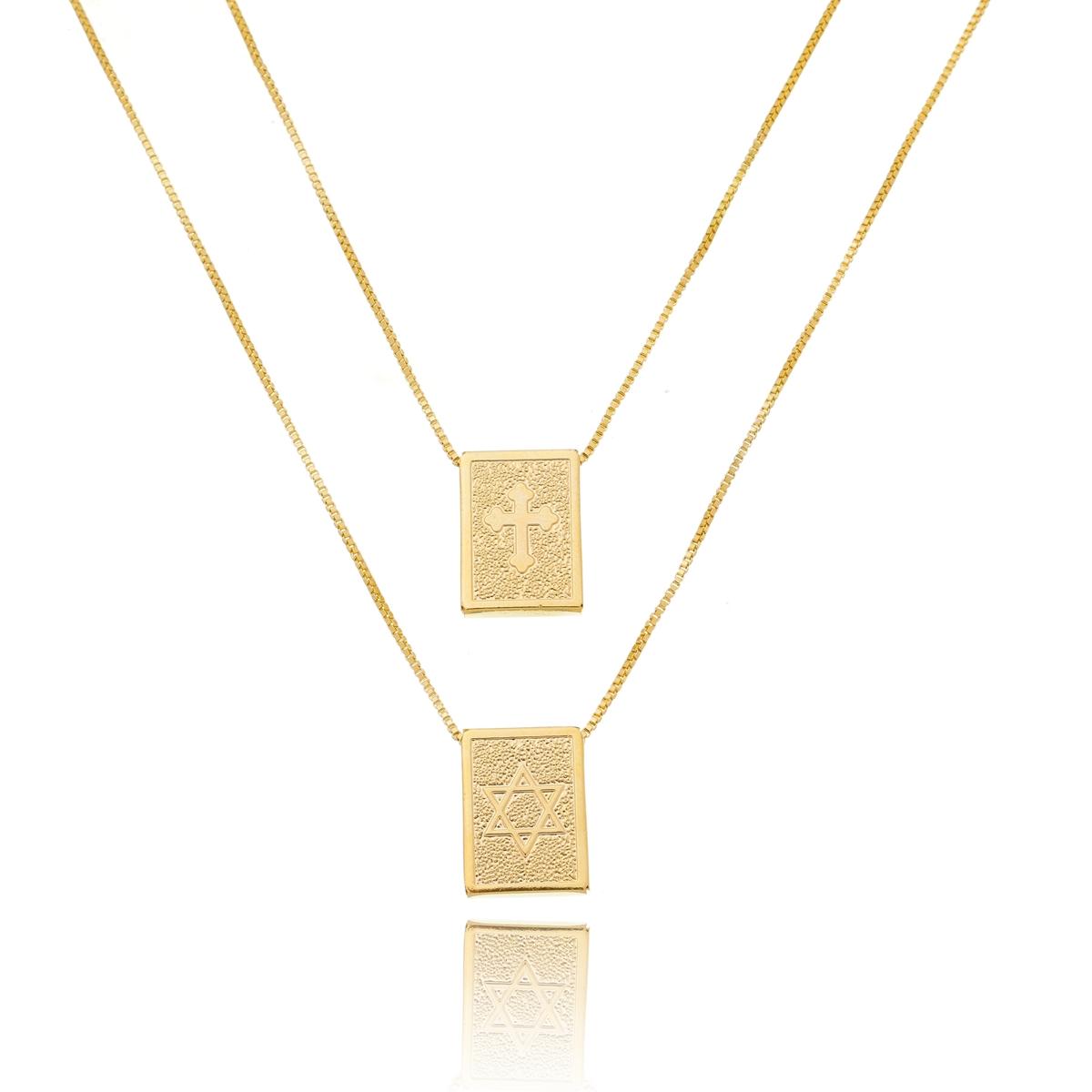 Colar Escapulário Estrela de Davi Banhado em Ouro 18k